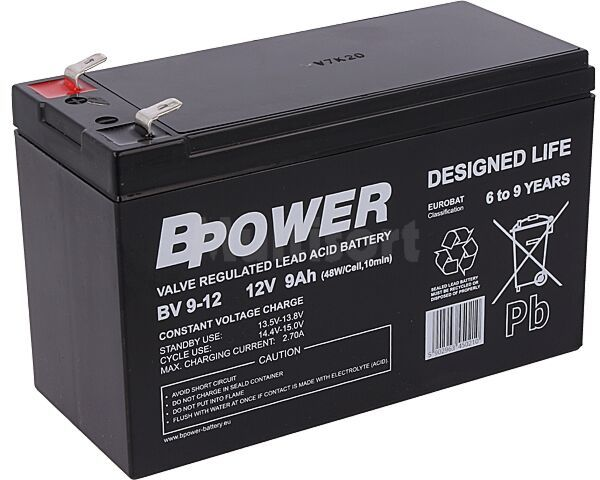 Akumulator kwasowo-ołowiowy BPOWER 12V 9Ah AGM 151x65x99mm