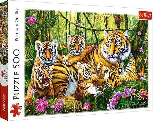 Puzzle 500 elementów - Rodzina Tygrysow