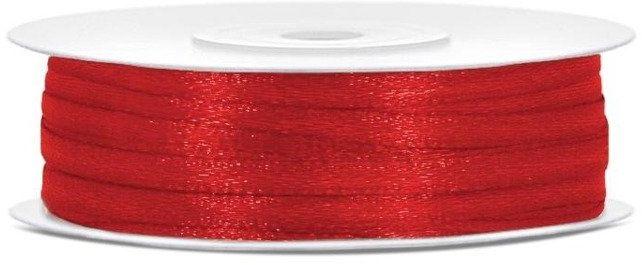 Czerwona tasiemka satynowa 3mm rolka 50m 1 szt TS3-007