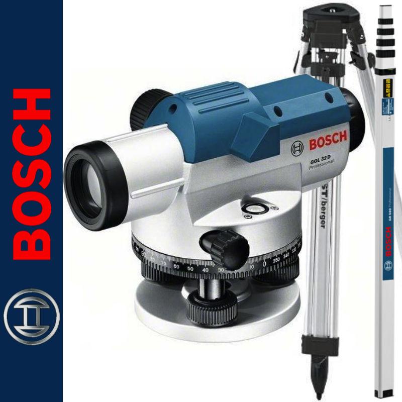 Niwelator optyczny 32D BOSCH + Statyw aluminiowy BT160 BOSCH + Łata aluminiowa GR500 BOSCH