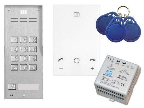 Domofon głośnomówiący ACO Familio z czytnikiem i zamkiem szyfrowym - Zestaw jednorodzinny natynkowy