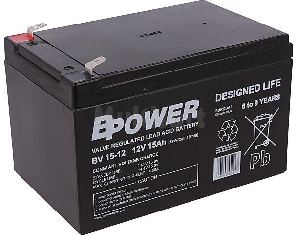 Akumulator kwasowo-ołowiowy BPOWER 12V 15Ah AGM 151x98x101mm