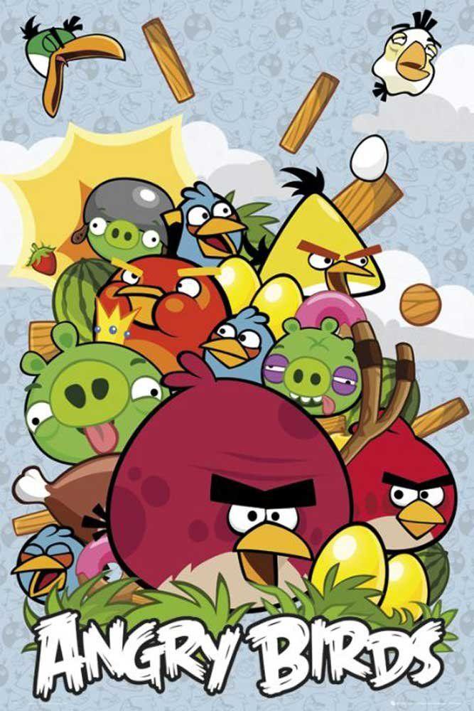 Empire 524256 Angry Birds - kolaż - Gra wideo Plakat - Nadruk Ptaki Zielona Świnka - Plakat Maxi - Rozmiar 61 x 91,5 cm
