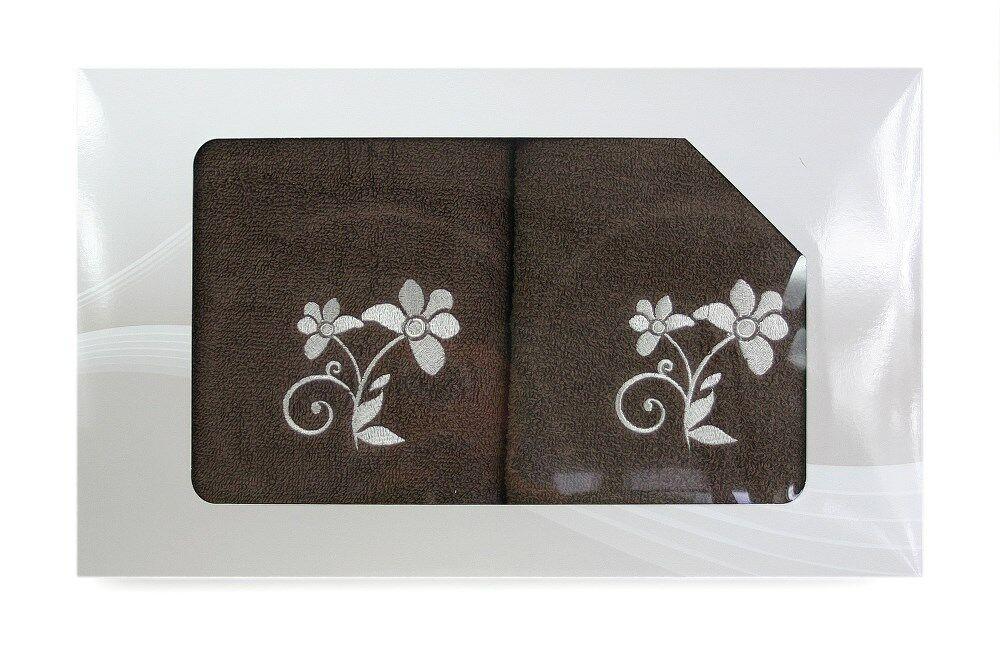 Komplet ręczników w pudełku 2 szt VIVA brązowy wzór nr 3