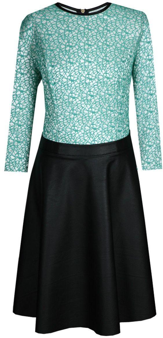 Sukienka FSU645 ZIELONY MORSKI + CZARNY koronka