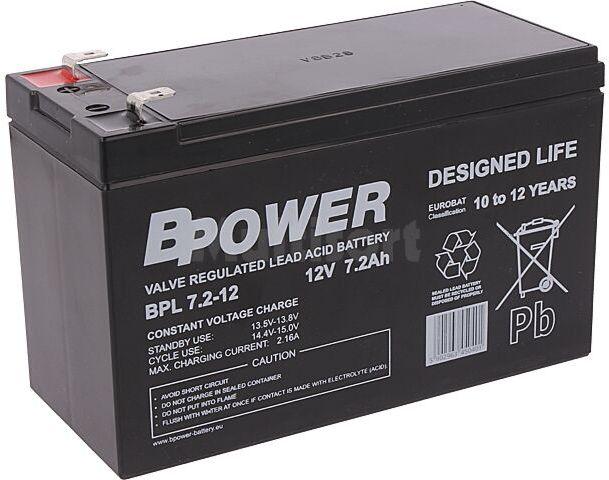 Akumulator kwasowo-ołowiowy BPOWER 12V 7,2Ah AGM 151x65x99mm