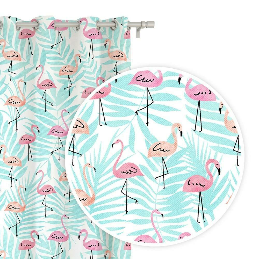 Zasłona gotowa na przelotkach 140x250 biała flamingi liście palmy miętowe Flamingove