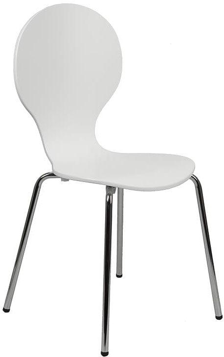 Krzesło ze sklejki w kolorze białym, stelaż chromowany. Model TDC-122.