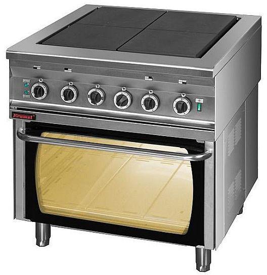 Kuchnia gastronomiczna elektryczna 4-płytowa z piekarnikiem el. KROMET 000.KEZ-4u/PE-2