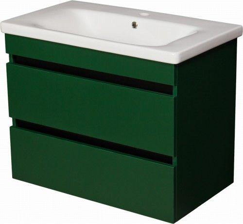Szafka łazienkowa loftowa zielona 80cm z białą umywalką ceramiczną Soft, Gante Sensi
