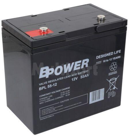 Akumulator kwasowo-ołowiowy BPOWER 12V 55Ah AGM 226x135x214mm