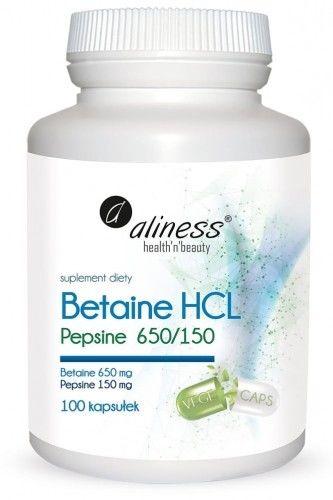 Betaine HCL, Pepsyna 650/150 mg 100 kapsułek