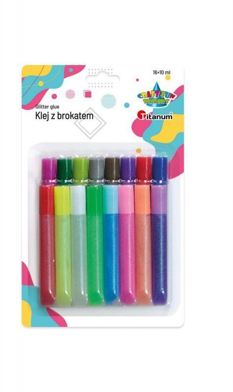 Klej z brokatem 16 kolorów x 10ml Titanum Craft-Fun Series 439199 668856
