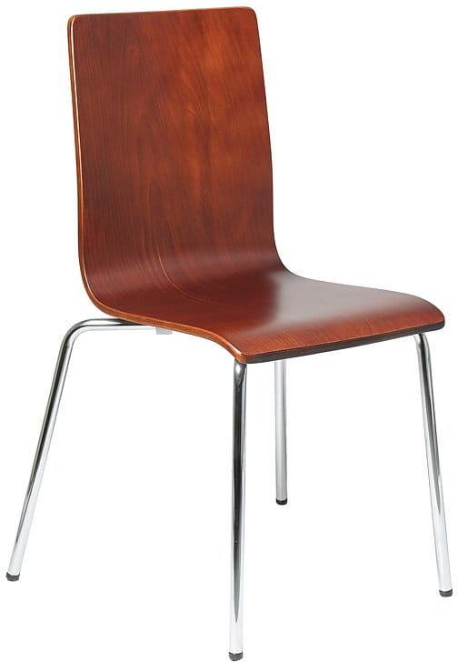 Krzesło ze sklejki w kolorze c. orzech, stelaż chromowany. Model TDC-132.