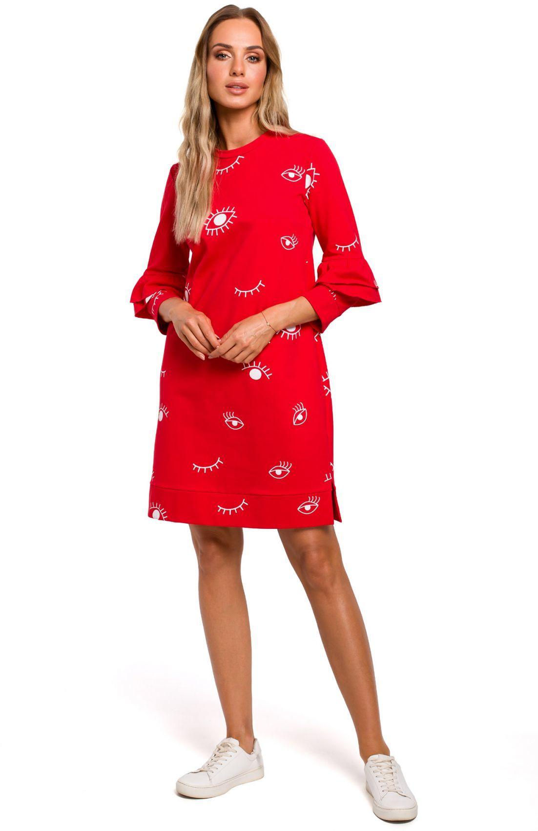 M445 Sukienka z falbankami przy rękawach - czerwona