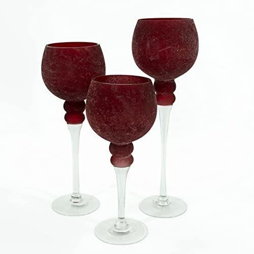 NOOR Living Design Products 10064 świecznik szklany, czerwony satynowany, L