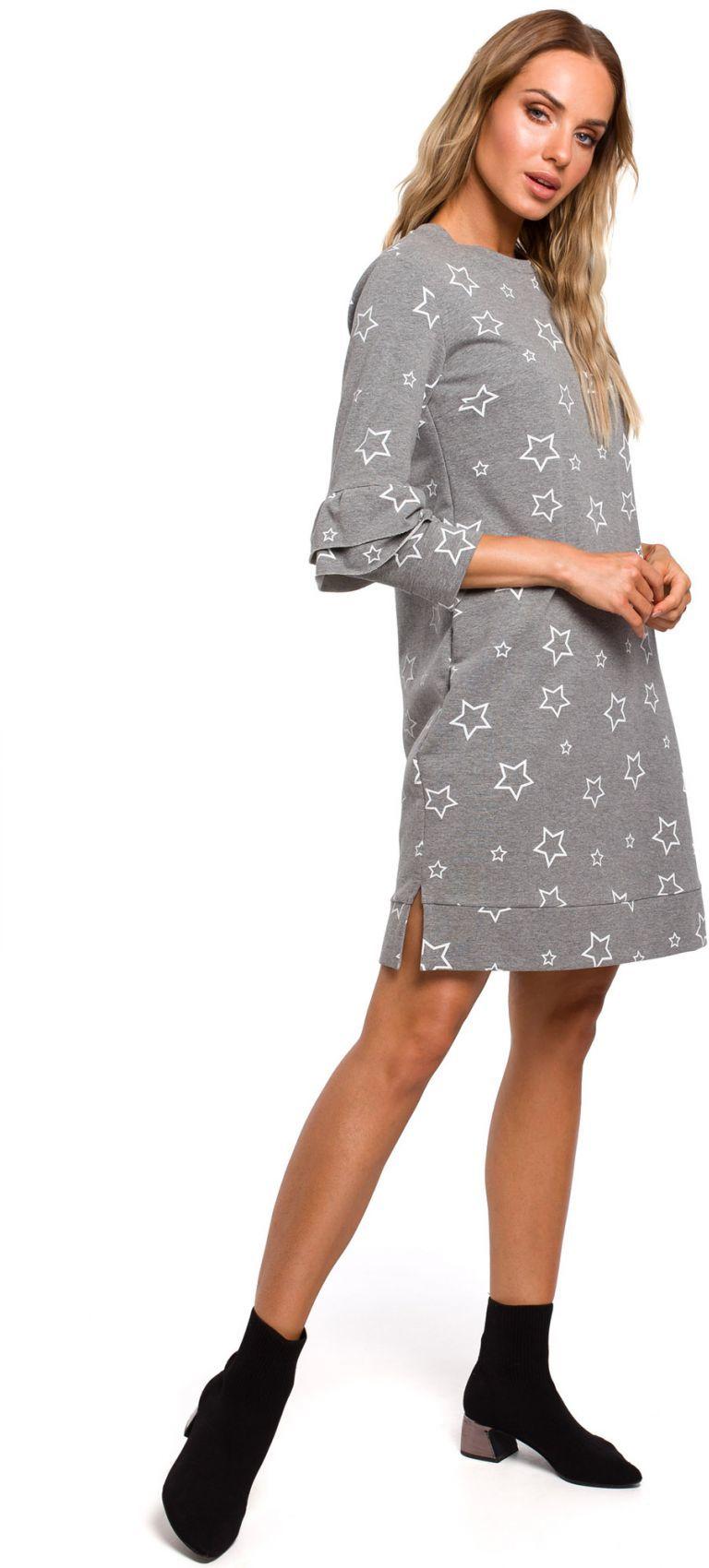 M445 Sukienka z falbankami przy rękawach - szara