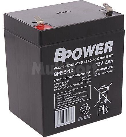 Akumulator kwasowo-ołowiowy BPOWER 12V 5Ah AGM 90x70x106mm