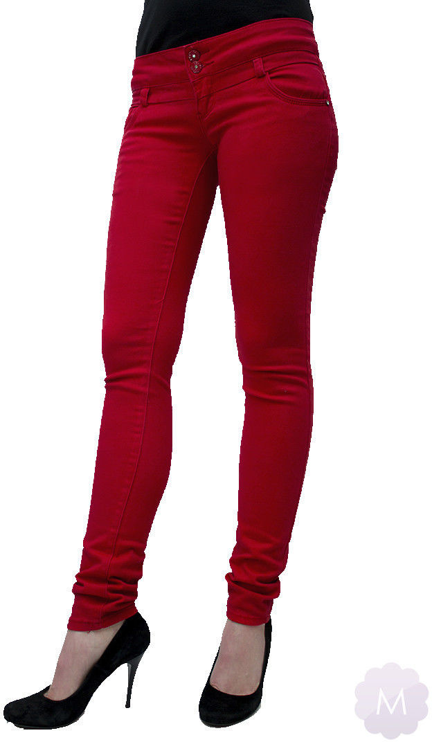 Spodnie jeansowe rurki biodrówki czerwone - CZERWONY