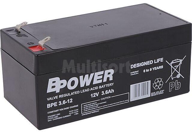 Akumulator kwasowo-ołowiowy BPOWER 12V 3,6Ah AGM 134x67x67mm