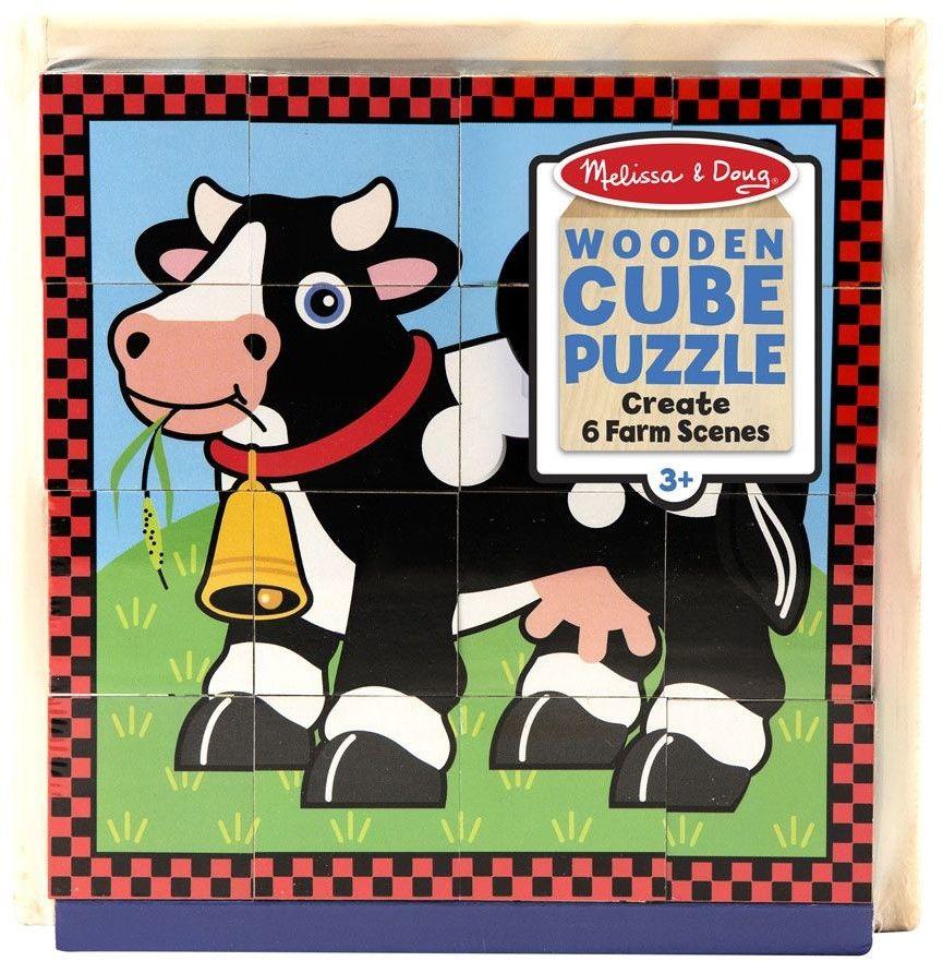 Melissa Doug Puzzle sześcienne kostki Wesoła wieś