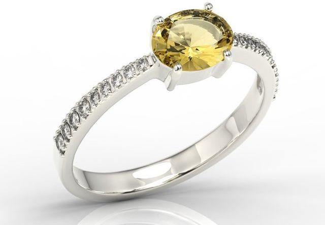 Pierścionek z białego złota z cytrynem i diamentami bp-58b
