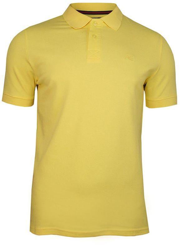 Żółta Bawełniana Koszulka POLO -Adriano Guinari- Męska, Krótki Rękaw, z Kołnierzykiem, Casualowa TSADGPOLOsunshine