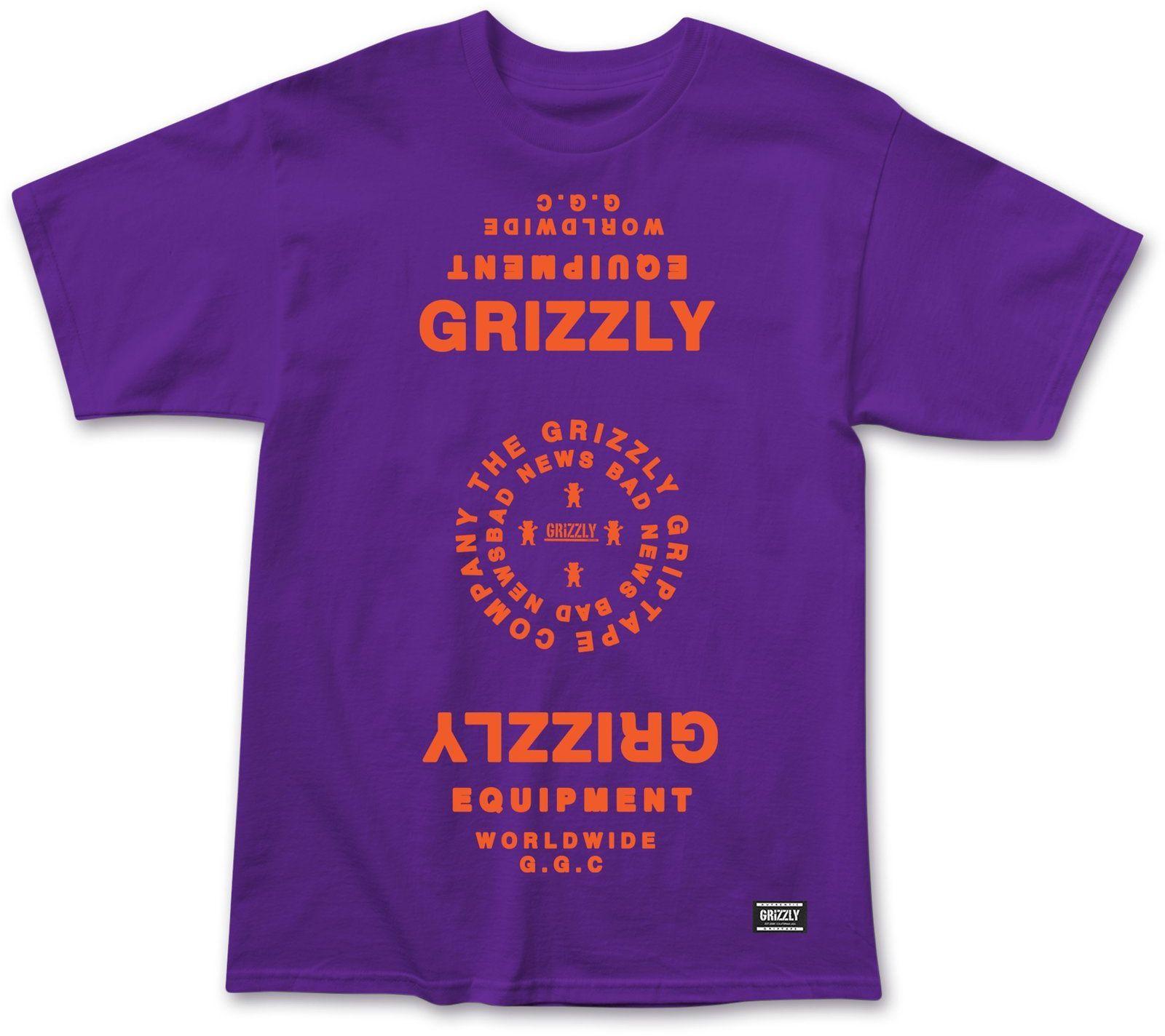 t-shirt męski GRIZZLY MIRRORED TEE Purple