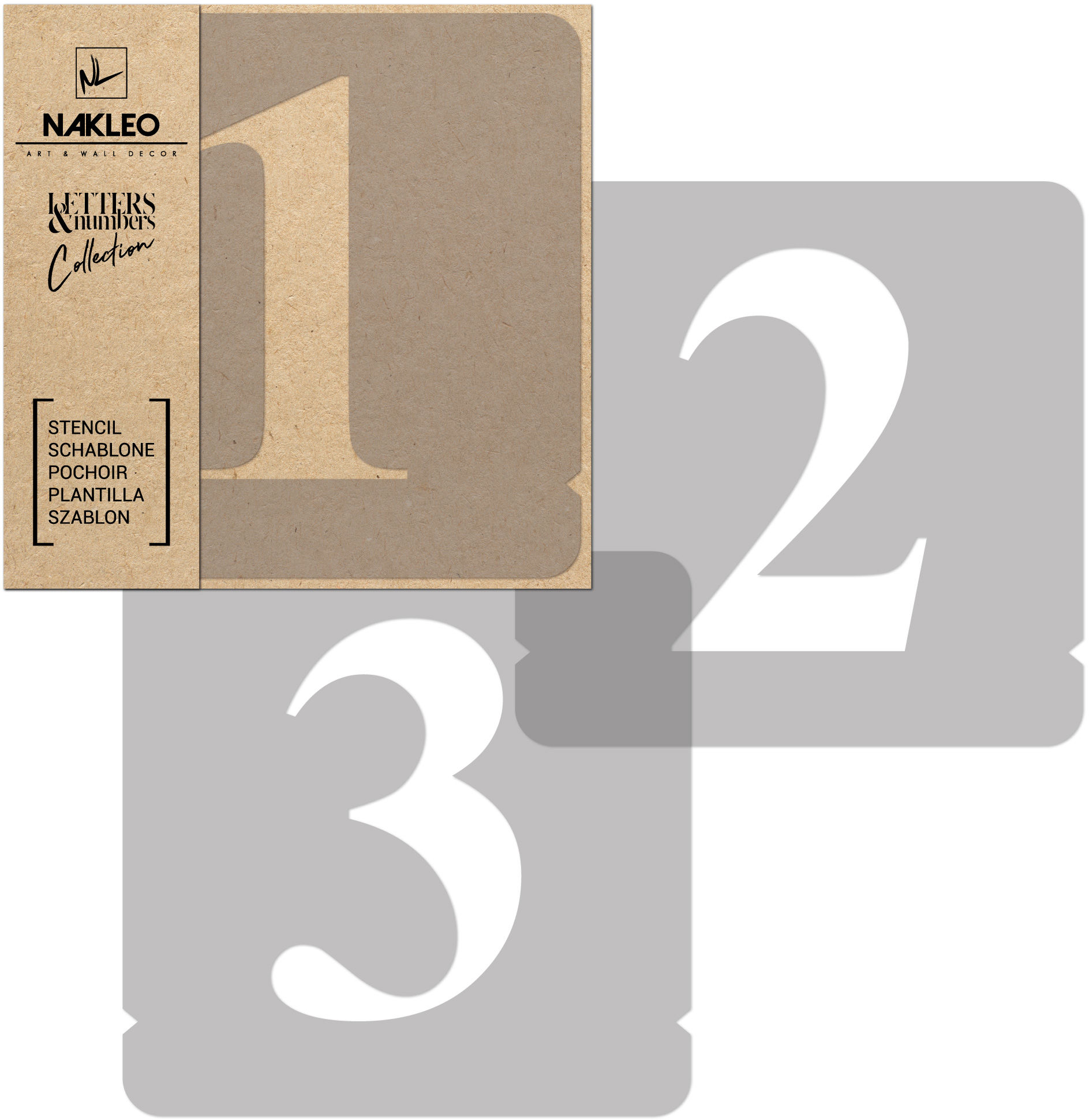 szablon malarski wielokrotny // cyfry 50 mm // Times Roman Cyfry