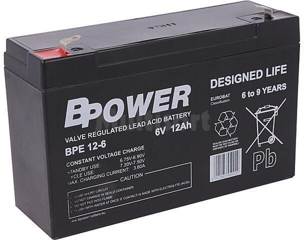 Akumulator kwasowo-ołowiowy BPOWER 6V 12Ah AGM 151x51x100mm