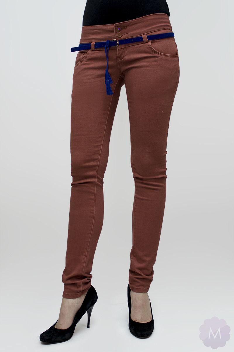 Spodnie jeansowe rurki biodrówki ceglaste - CEGLASTY