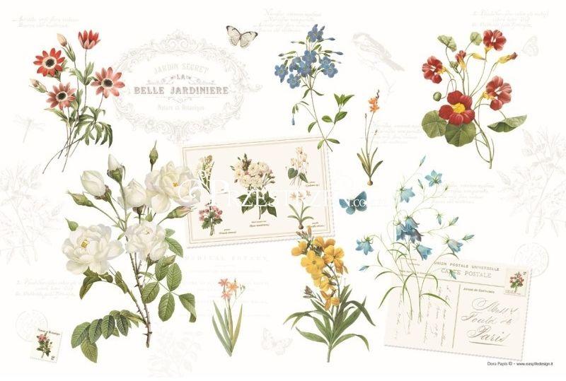 DUŻA PODKŁADKA POLIPROPYLENOWA NA STÓŁ - Natural - Kwiaty