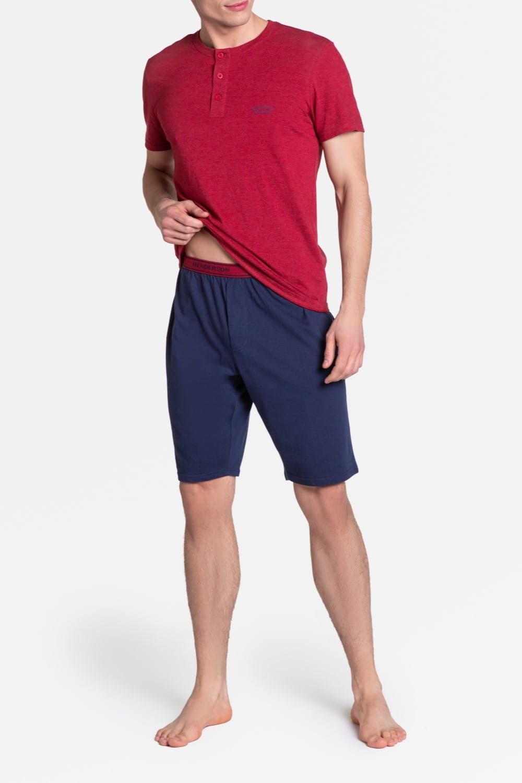 Bawełniana piżama męska Henderson 38879 Dune czerwona