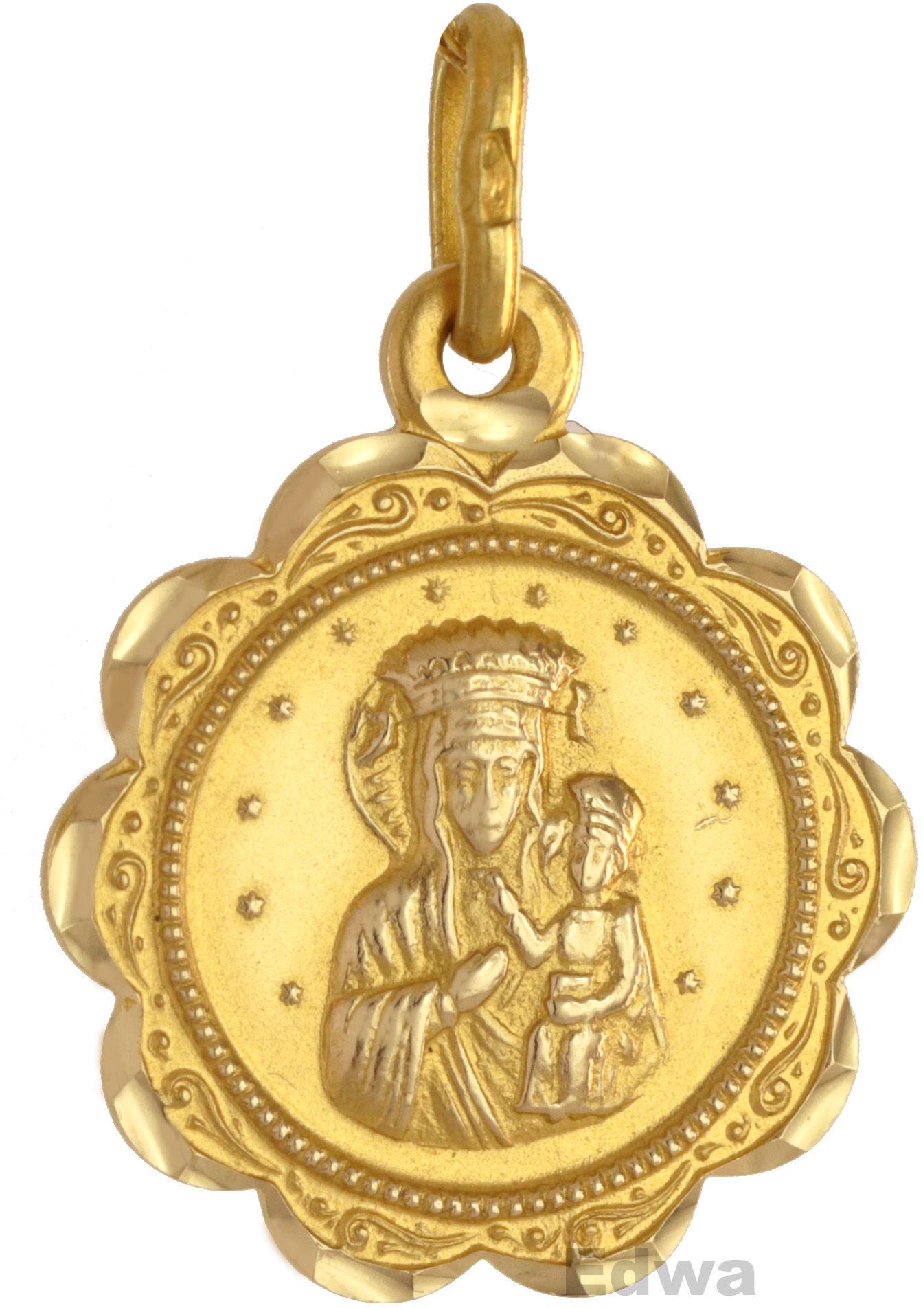 Zawieszka złota Medalik z Matką Boską i Dzieciątkiem pr.585
