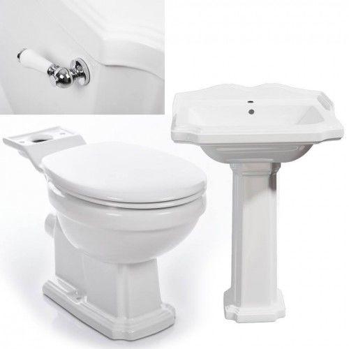 Kompakt WC ANTIK + umywalka z postumentem ANTIK RETRO + deska duroplast wolnoopadająca