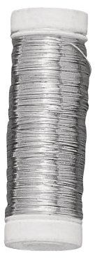 Rayher 2402400 srebrny drut z rdzeniem miedzianym, średnica 0,40 mm, szpula z tworzywa sztucznego 100 m, nie zawiera niklu, srebrny drut do majsterkowania, drut wiążący, drut jubilerski