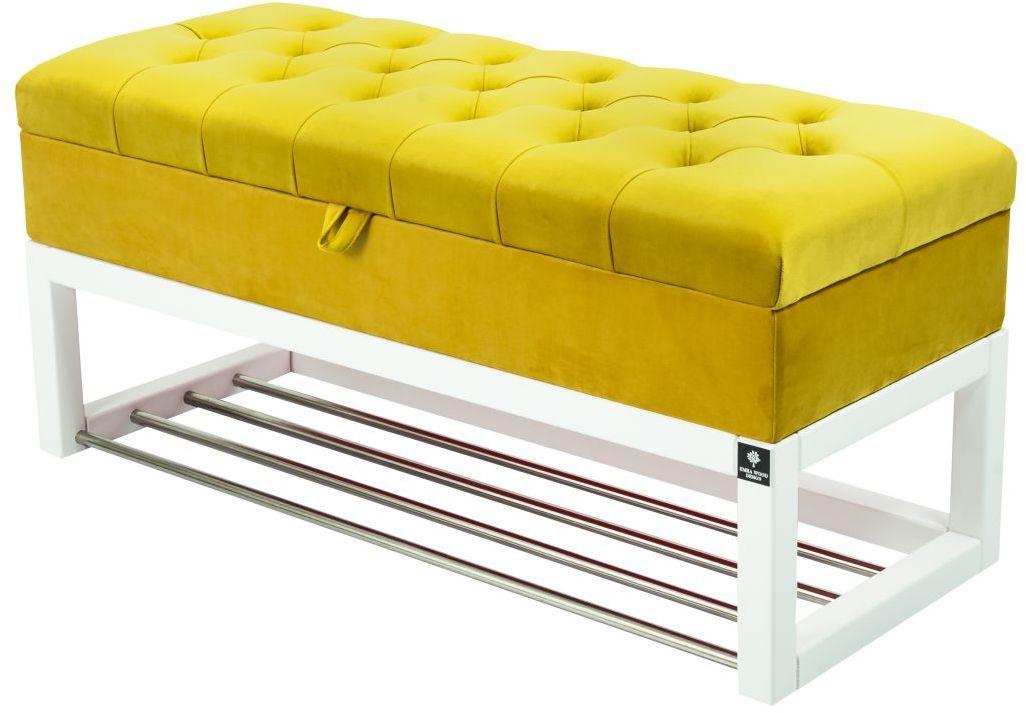Kufer Pikowany CHESTERFIELD Cytrynowa Żółcień / Model QD-4 Rozmiary od 50 cm do 200 cm