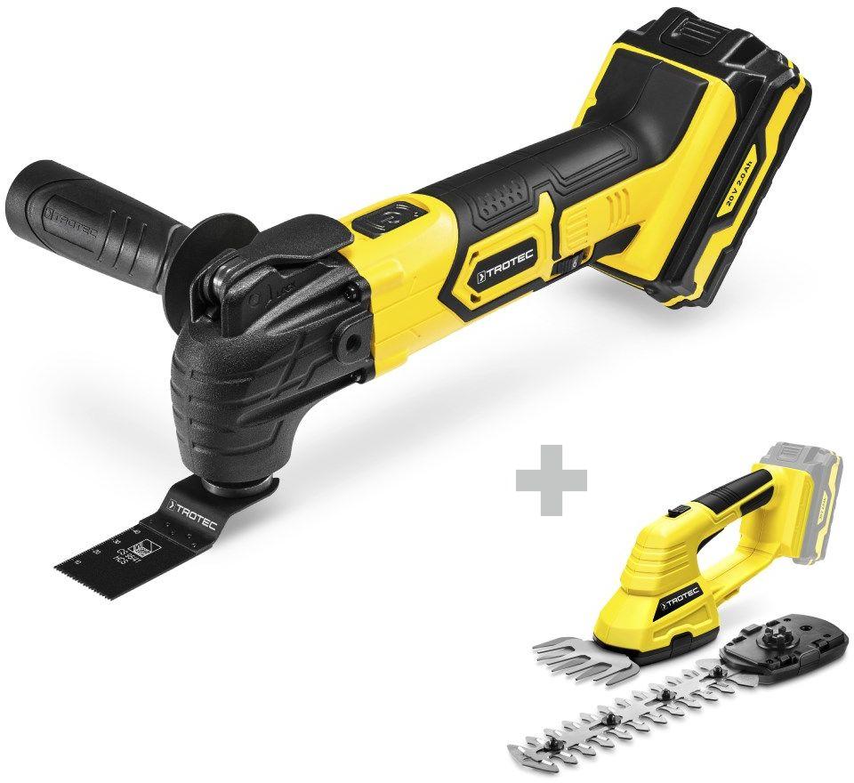 Akumulatorowe narzędzie wielofunkcyjne PMTS 10-20V + nożyce do trawy i krzewów PGSS 10-20V