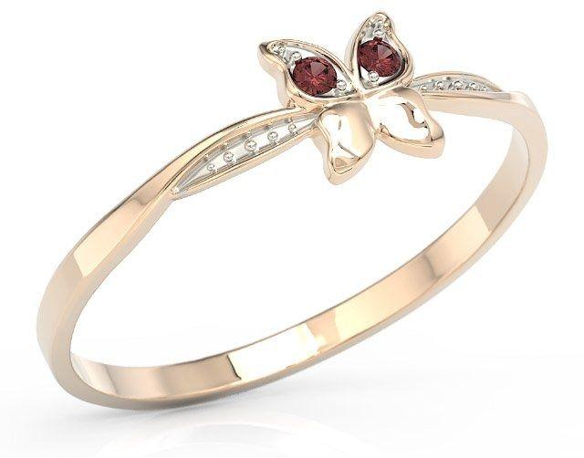 Pierścionek motylek z różowego złota z czerwonymi cyrkoniami bp-88p-r-c