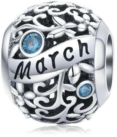 Rodowany srebrny charms do pandora miesiąc marzec month march cyrkonie srebro 925 CHARM216