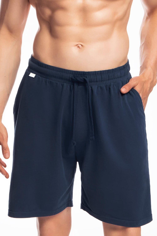 Męskie spodnie do piżamy Atlantic krótkie NMB 039 granatowe
