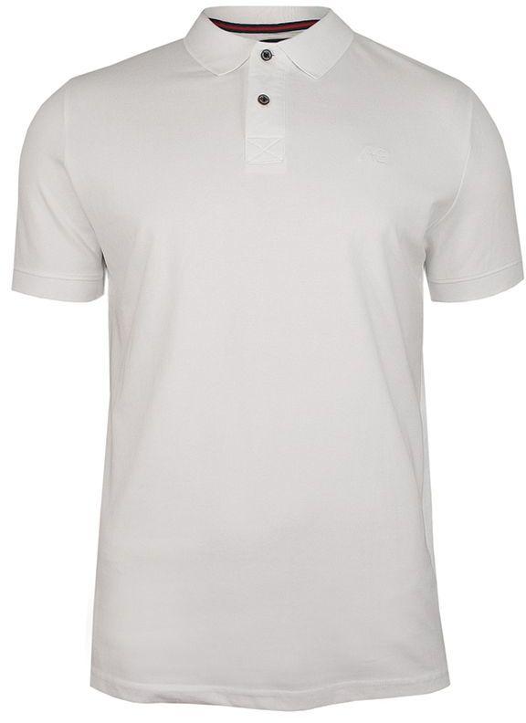 Biała Bawełniana Koszulka POLO -Adriano Guinari- Męska, Krótki Rękaw, z Kołnierzykiem, Casualowa TSADGPOLObrightwhite