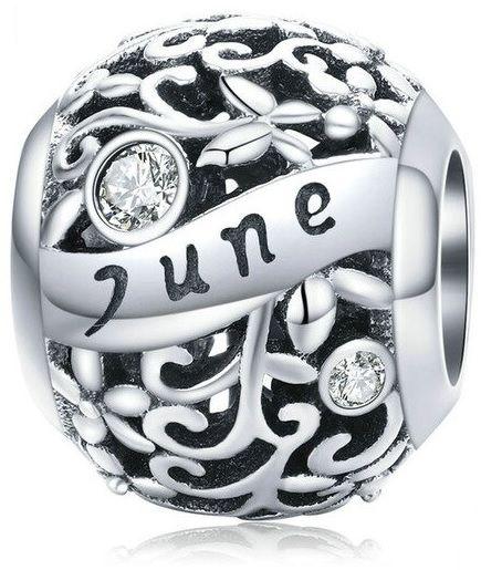 Rodowany srebrny charms do pandora miesiąc czerwiec month june cyrkonie srebro 925 CHARM219