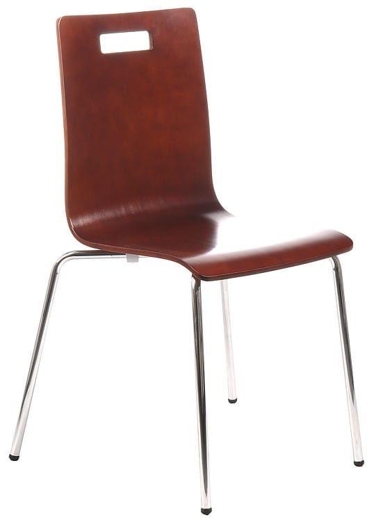 Krzesło ze sklejki w kolorze c. orzech, stelaż chromowany. Model TDC-132 z otworem.