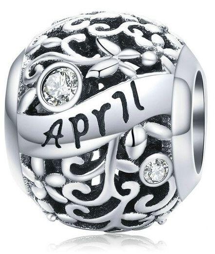 Rodowany srebrny charms do pandora miesiąc kwiecień month april cyrkonie srebro 925 CHARM217