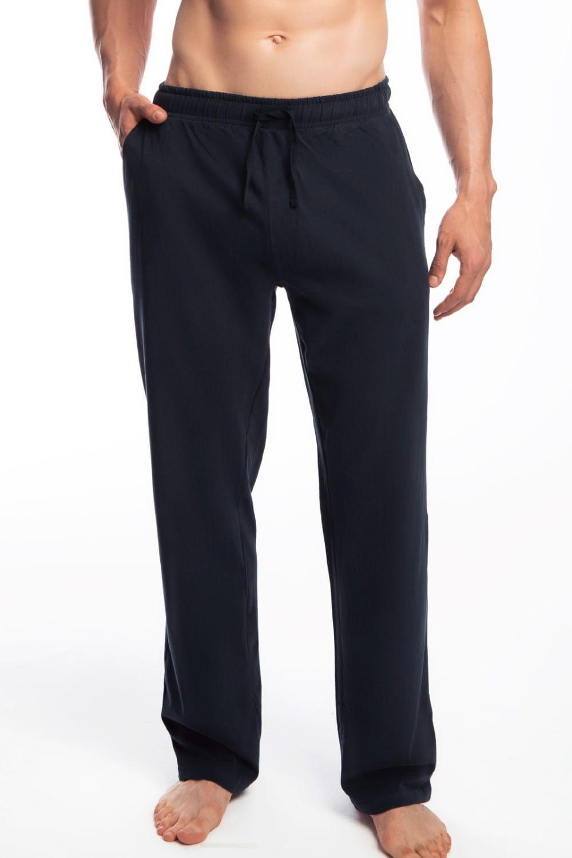 Męskie spodnie do piżamy Atlantic długie NMB 040 granatowe