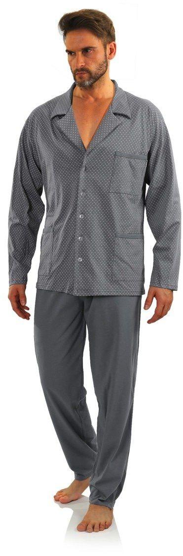 Bawełniana rozpinana piżama męska z długim rękawem Sesto Sesto w kotwiczki