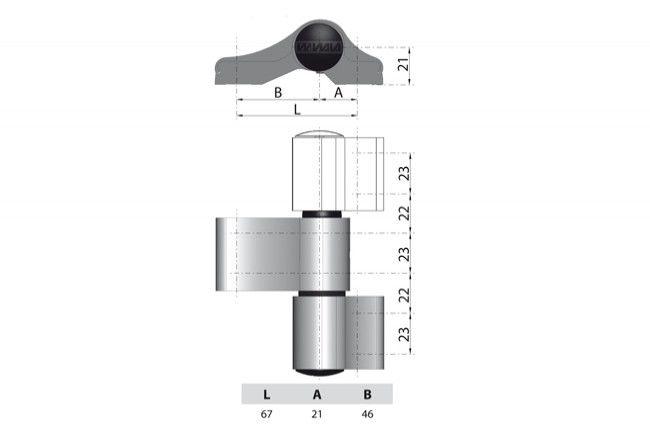 Zawias WALA WX 80104572 3-skrzydełkowy niesymetryczny L=67 brązowy