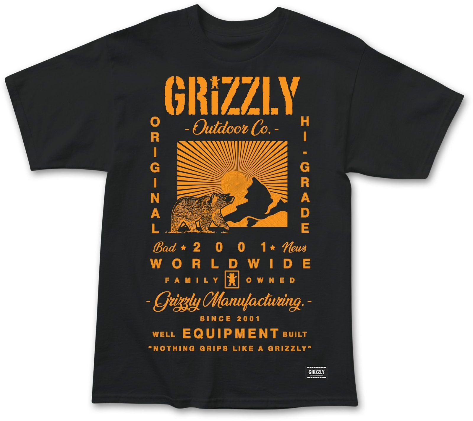 t-shirt męski GRIZZLY TAGLINE TEE Black