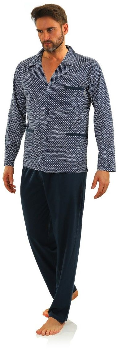 Bawełniana rozpinana piżama męska z długim rękawem Sesto Sesto 2281/01